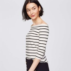 LOFT Off the Shoulder Tee NWT Black/White Stripe